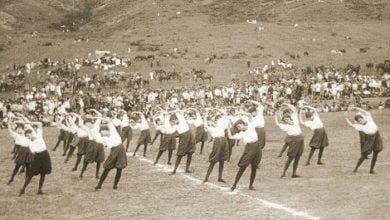 """ტანვარჯიშის საზოგადოება """"შევარდენი"""", საქართელოს დამოუკიდებლობის დღის ზეიმზე, თბილისი, დღევანდელი ვაკის პარკი, 1919 წლის 26 მაისი."""
